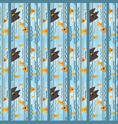 Seamless pattern curious kitty watching aquarium vector