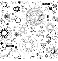 Seamless pattern with alchemical and space vector