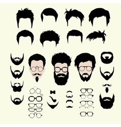 Set hipster style haircut glasses vector