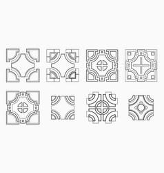 set of 8 symmetric geometric tile shapes vector image