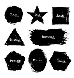 set of geometry shapes grunge style vector image