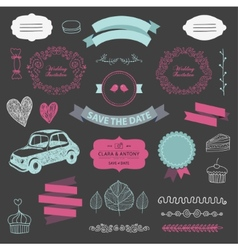 set of vintage wedding vector image