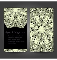 Set retro business card background Card vector