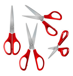set scissors with red plastic handles open and vector image