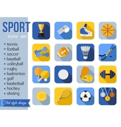set sport icons flat style design with long vector image