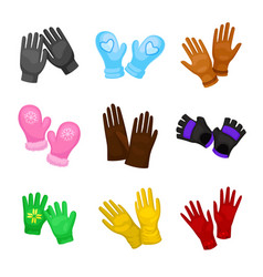 Set stylish mittens and gloves vector