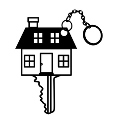 Silhouette key monochrome with shape house vector