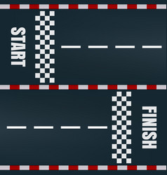 start finish racing track marking vector image