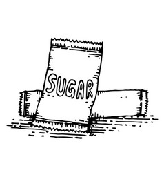 Sugar in packaging hand drawing vector