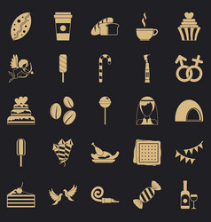 Sugary food icons set simple style vector