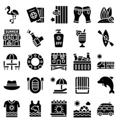 summer vacation related icon set 3 solid style vector image