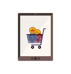 Tablet with full shopping cart vector