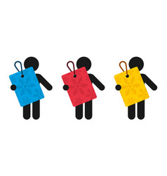 three figures holds colorful tags with the motif vector image