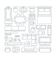 Top view of different furniture set for layout of vector