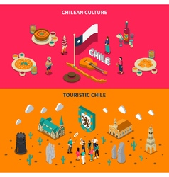 Touristic Chile 2 Isometric Horizontal Banners vector image