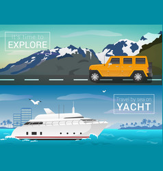 Travel by sea and land yacht in the bay vector