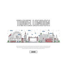 Travel london poster in linear style vector