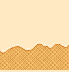 Vanilla ice cream flowing down on wafer background vector