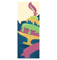 vertical cake card vector image