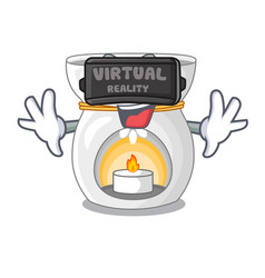 Virtual reality aroma lamp with burning candle vector