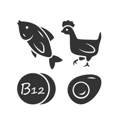Vitamin b12 glyph icon fish poultry and egg vector