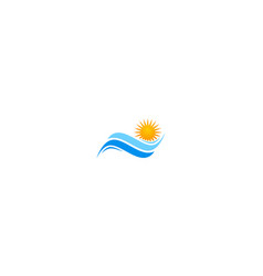 Wave sun shine beach logo vector