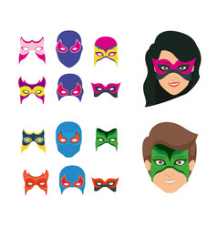 White background set ccollection mask of super vector