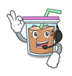 With headphone bubble tea mascot cartoon vector