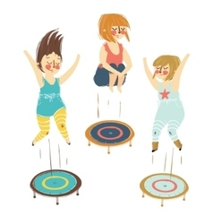a girls playing trampoline vector image