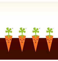 Cute beautiful cartoon Carrot characters in row vector image