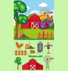 farm background with scarecrow and barn vector image