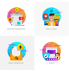 flat designed concepts - content marketing social vector image