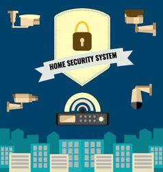Home security cctv cam system flat design set vector image