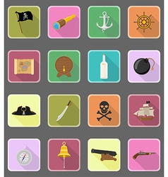 Pirate flat icons 19 vector