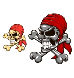 Pirate skull with crossbones vector image vector image