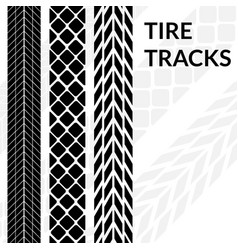 tire tracks wheel car different black dark vector image