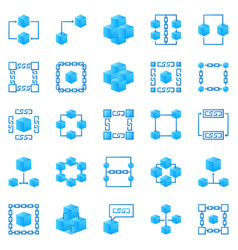 blockchain colorful icons bright block vector image