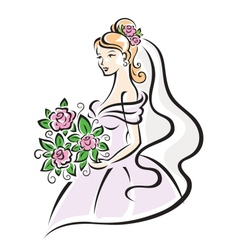 Bride with flowers vector image