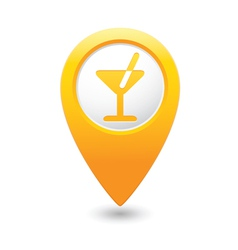 cocktail icon yellow map pointer vector image vector image