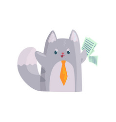 cute businessman cat with orange tie holding vector image