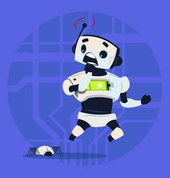 Cute robot scared modern artificial intelligence vector
