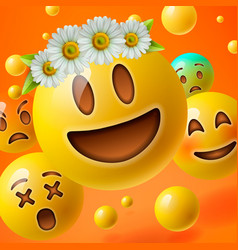 Emoticons with flower on head group of emoji vector