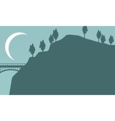 Silhouette of bridge with moon landscape vector