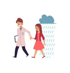 doctor helping young woman to cope with depression vector image