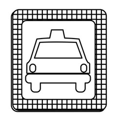 figure border taxi front car icon vector image vector image