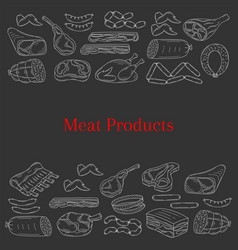 card template with different kinds of meat vector image vector image