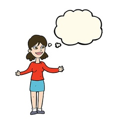 Cartoon happy woman shrugging shoulders with vector