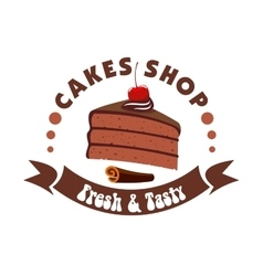 Chocolate cake badge for pastry shop design vector image vector image