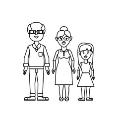 figure grandparents with their granddaughter icon vector image vector image