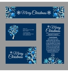 Four greeting card with stylish Christmas tree vector image